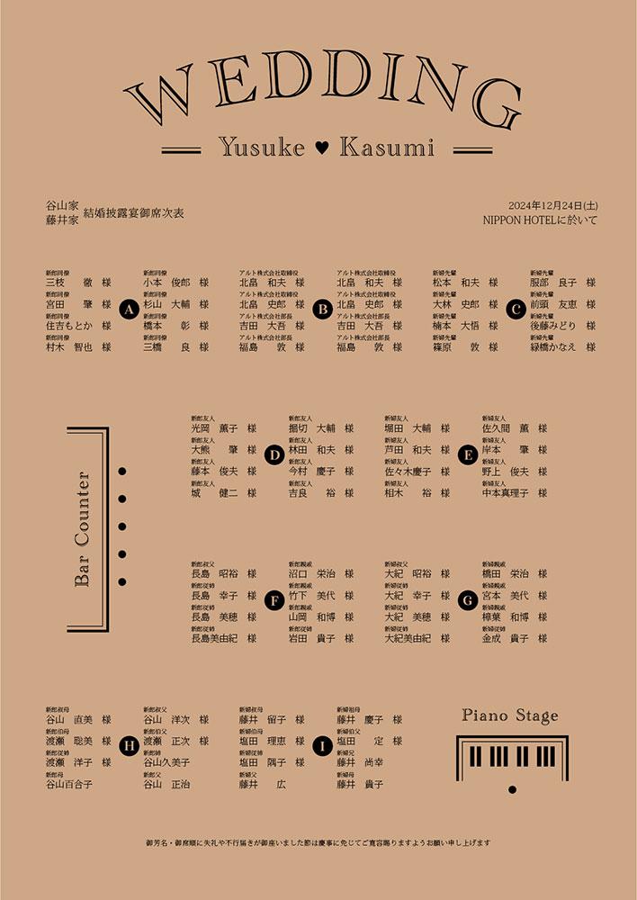 円卓 座席表 席次表 配置