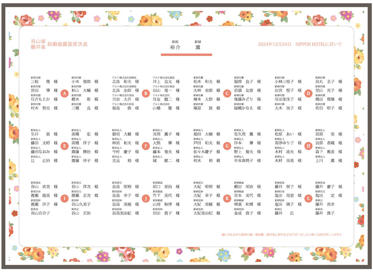 席次表の無料テンプレート 花柄デザイン素材